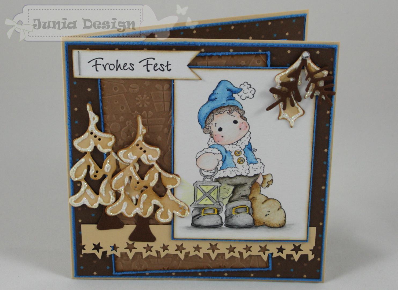 Weihnachtskarte braun/blau a