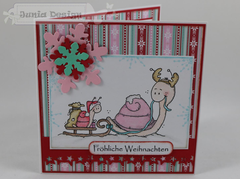 Weihnachtskarte zwei Schnecken a
