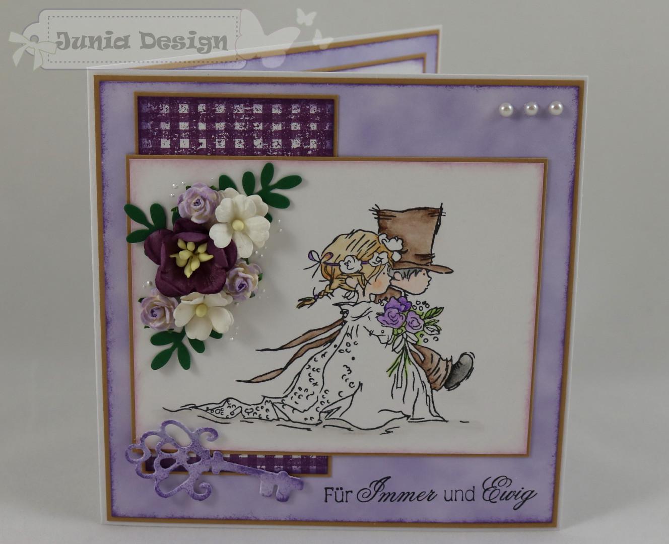 Hochzeitskarte lila/braun a