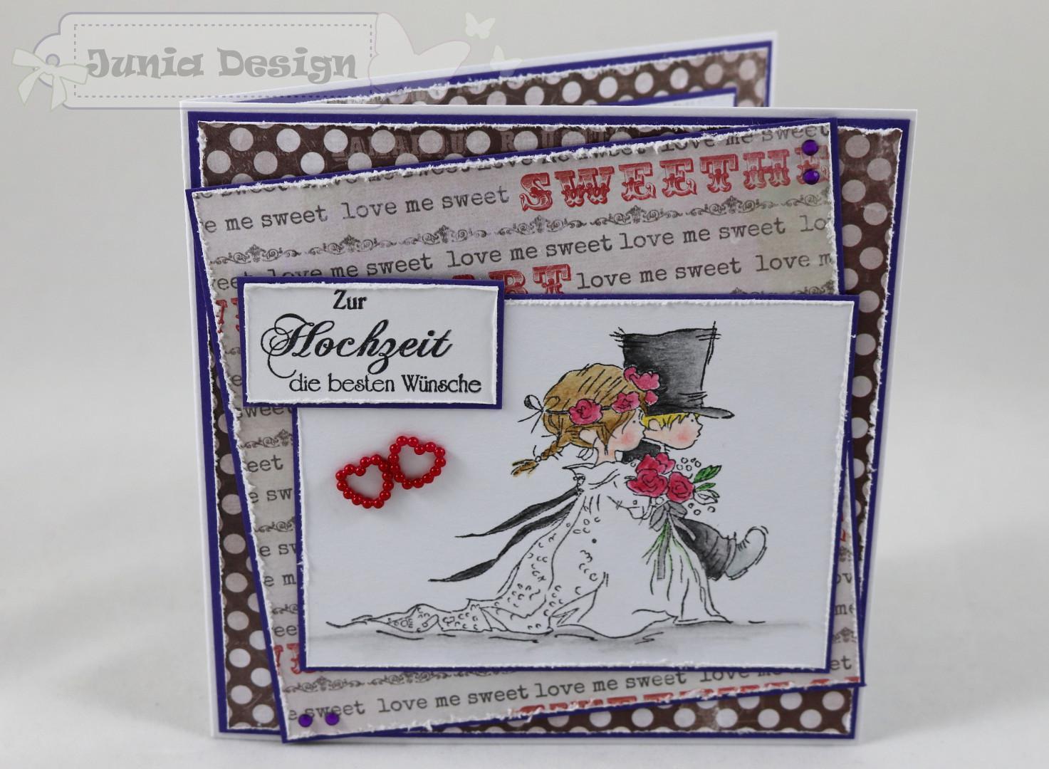 Hochzeitskarte lila/rot/grau a