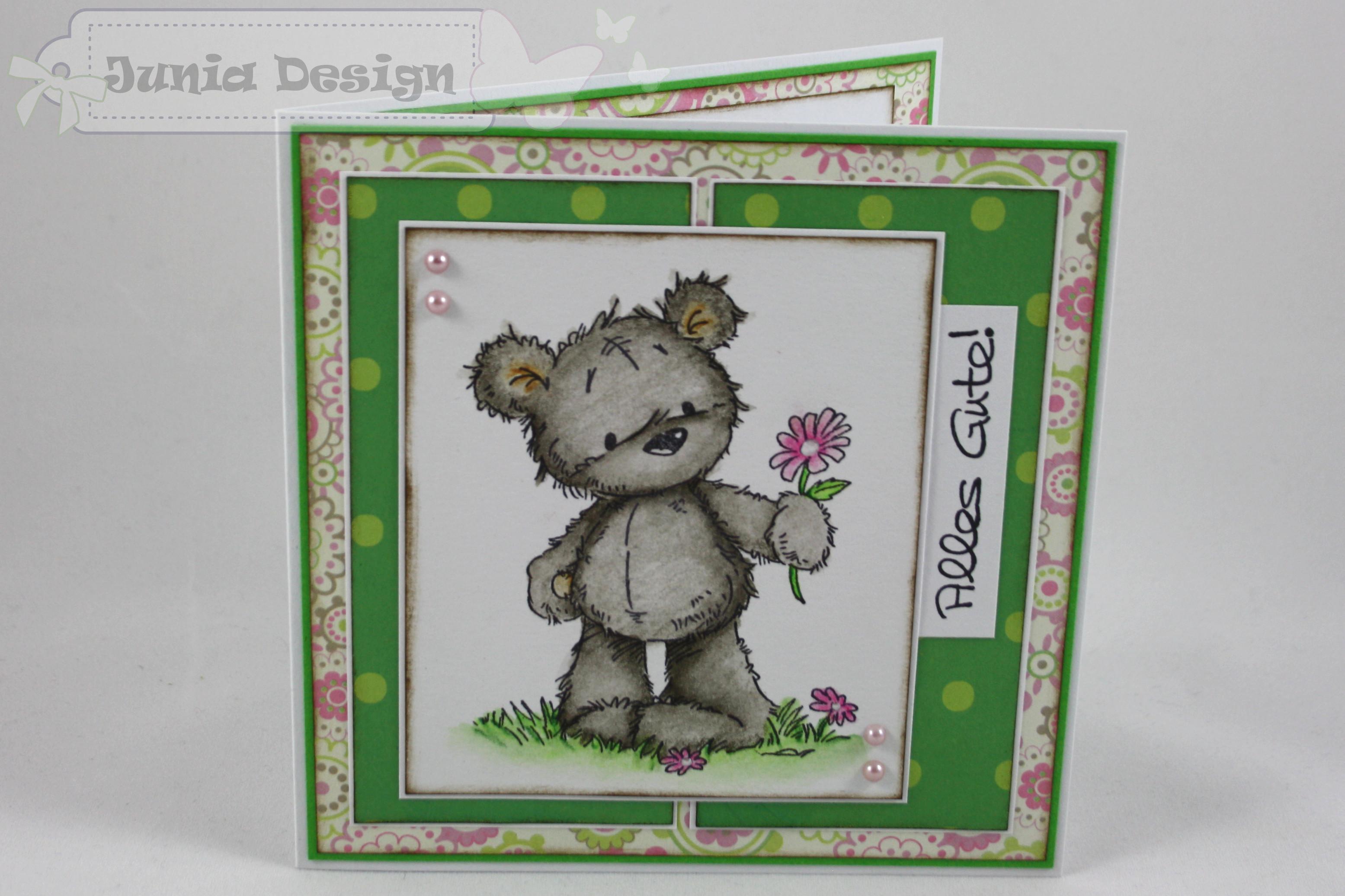 Grußkarte Bär mit Blume 1