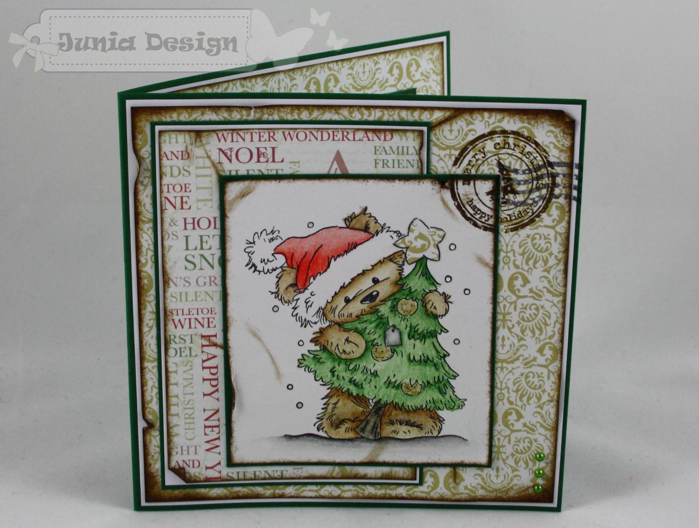 Weihnachtskarte Bär mit Baum a