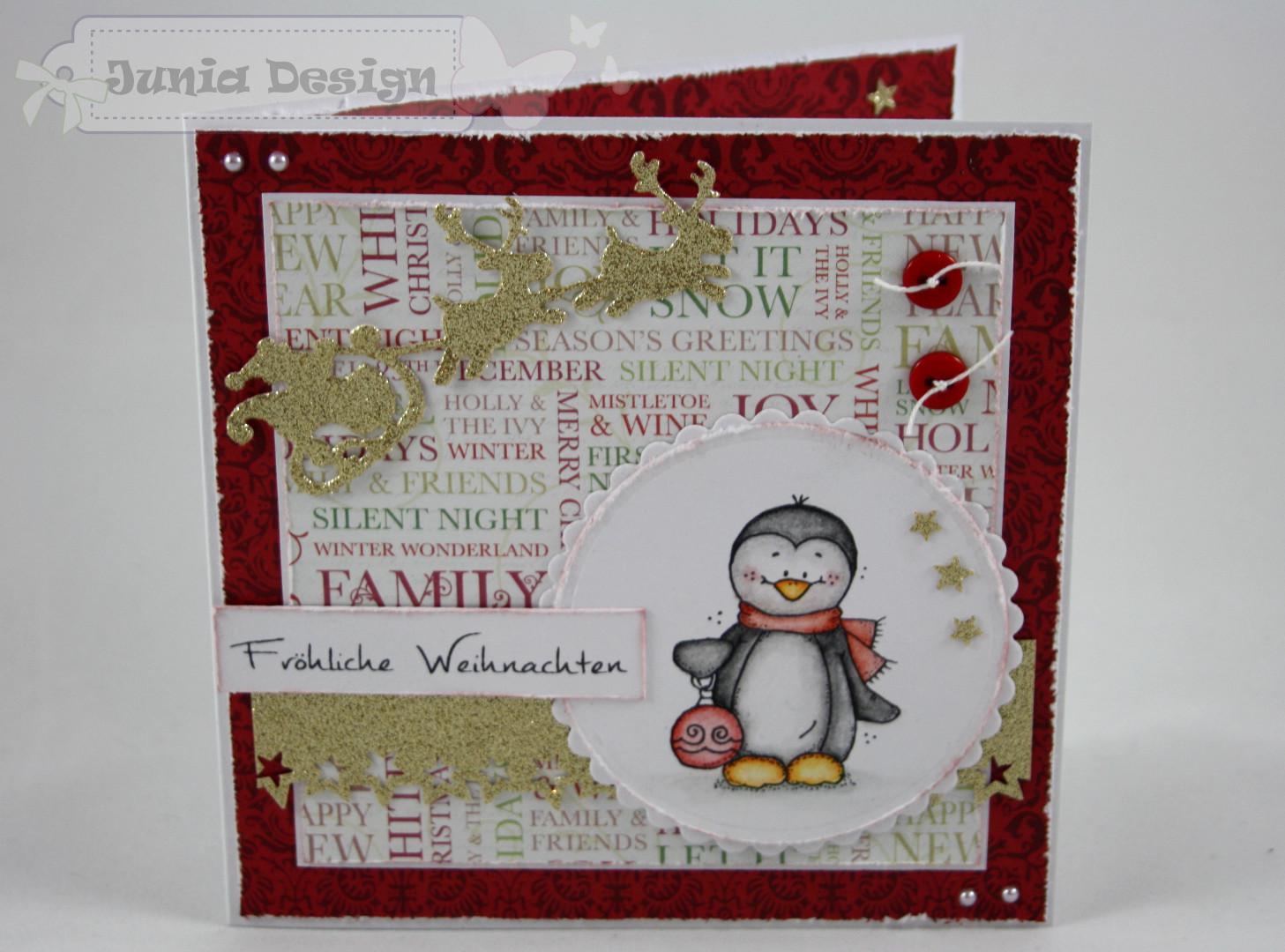 Weihnachtskarte Pinguin a