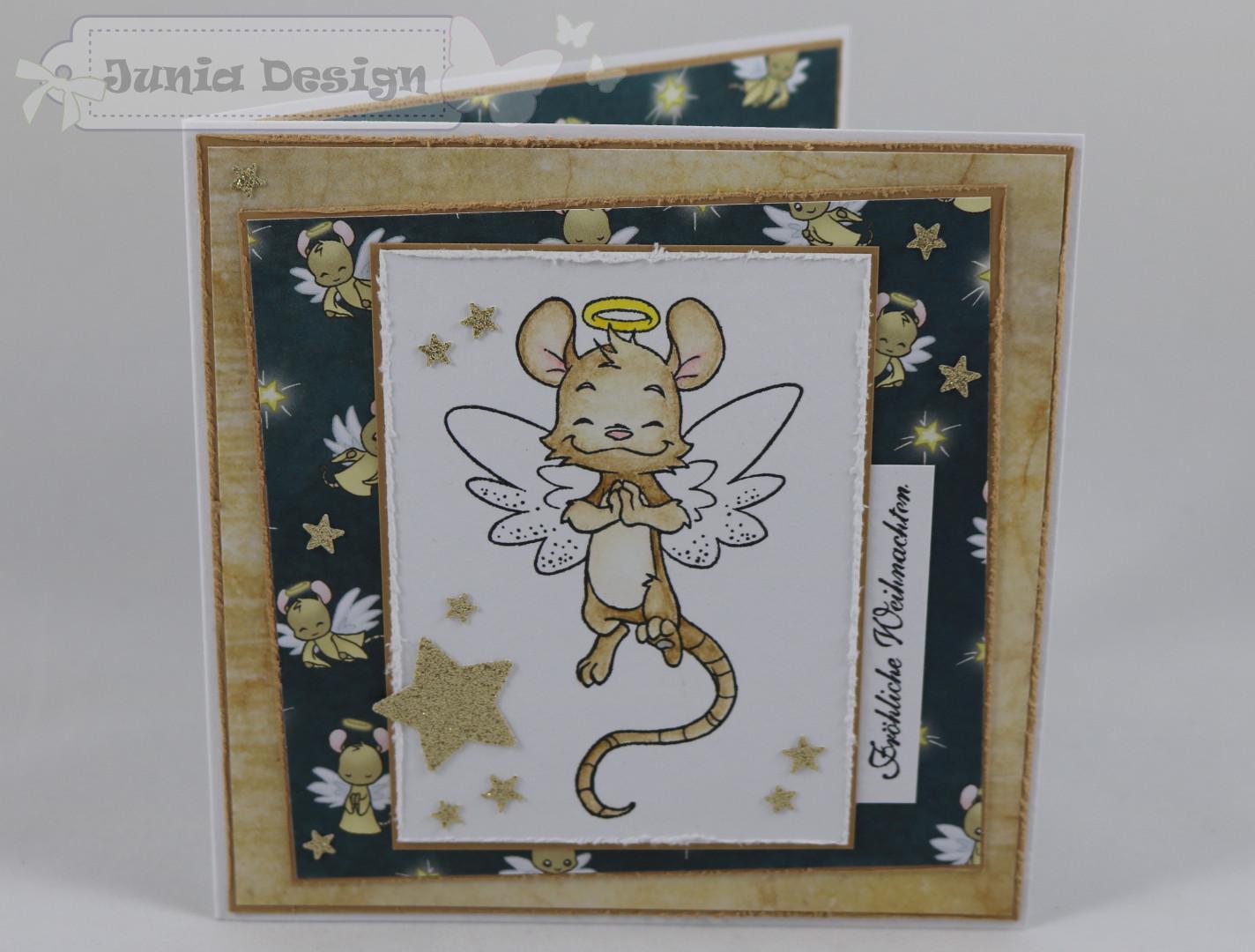 Weihnachtskarte Maus/gold a