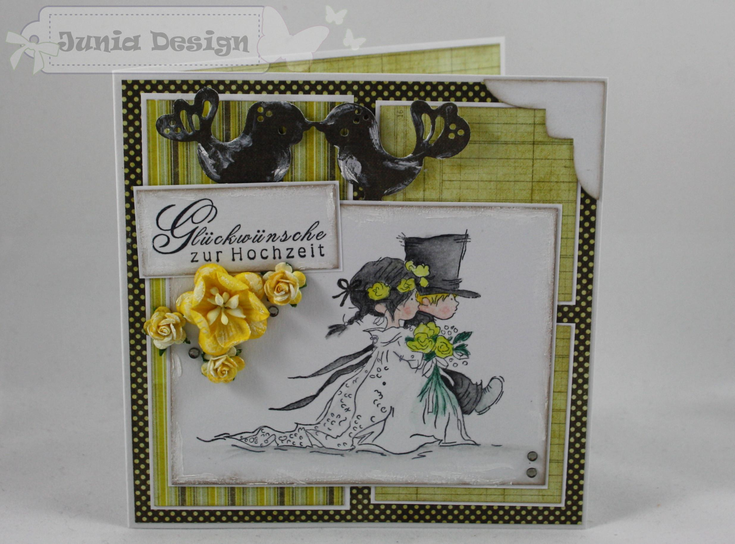 Hochzeitskarte gelb/grau 1