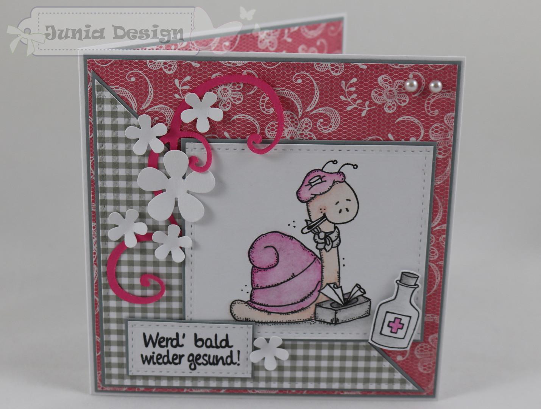 Genesungskarte rosa/grau a