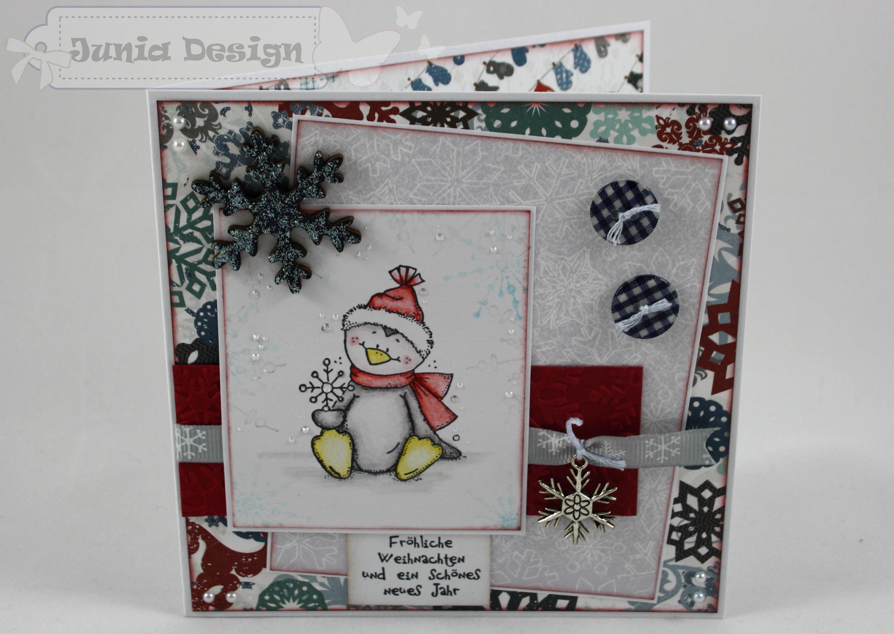 Weihnachtskarte Schneeflocken-Pinguin 1