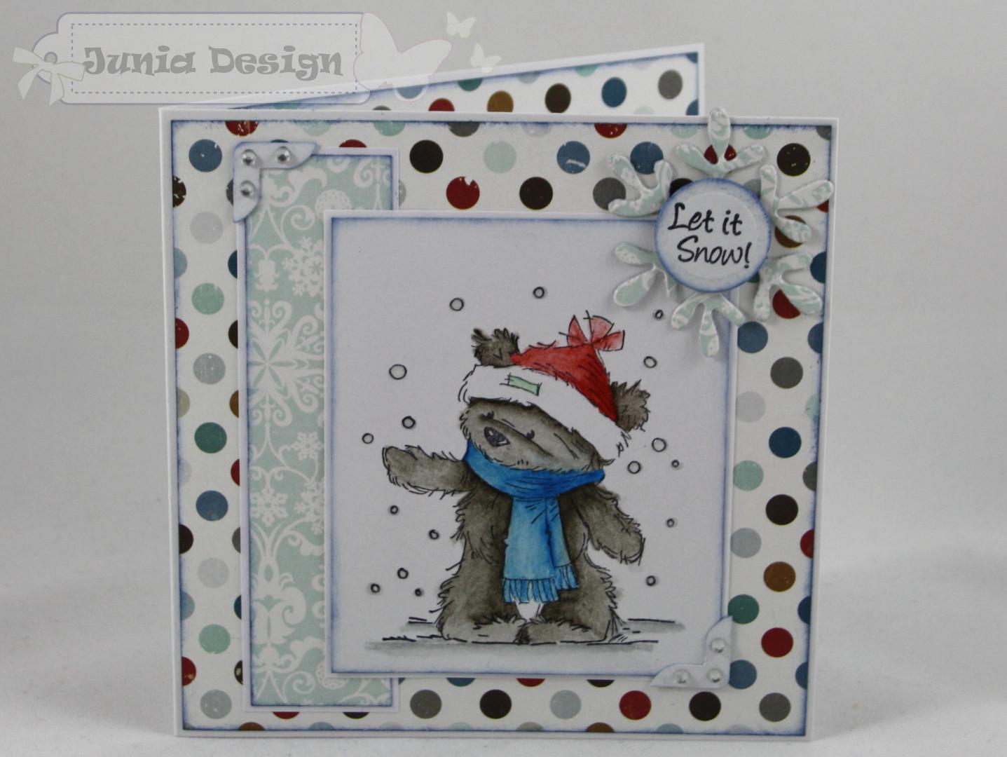 Weihnachtskarte Schnee Bär a