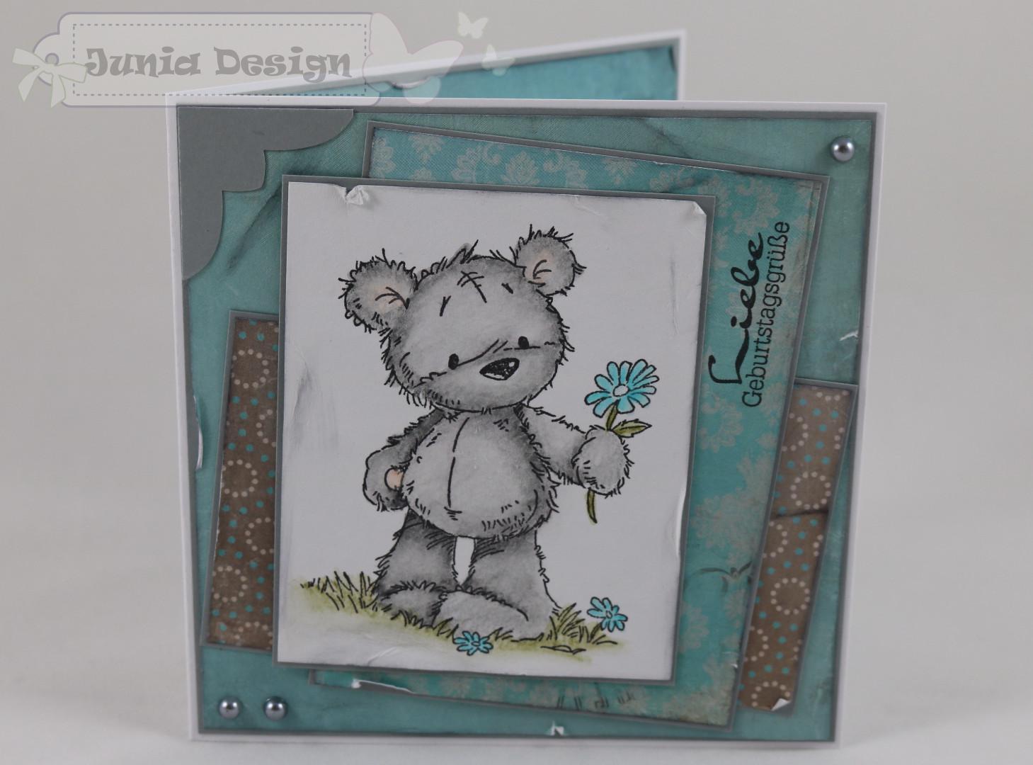 Geburtstagskarte Blumen-Bär a