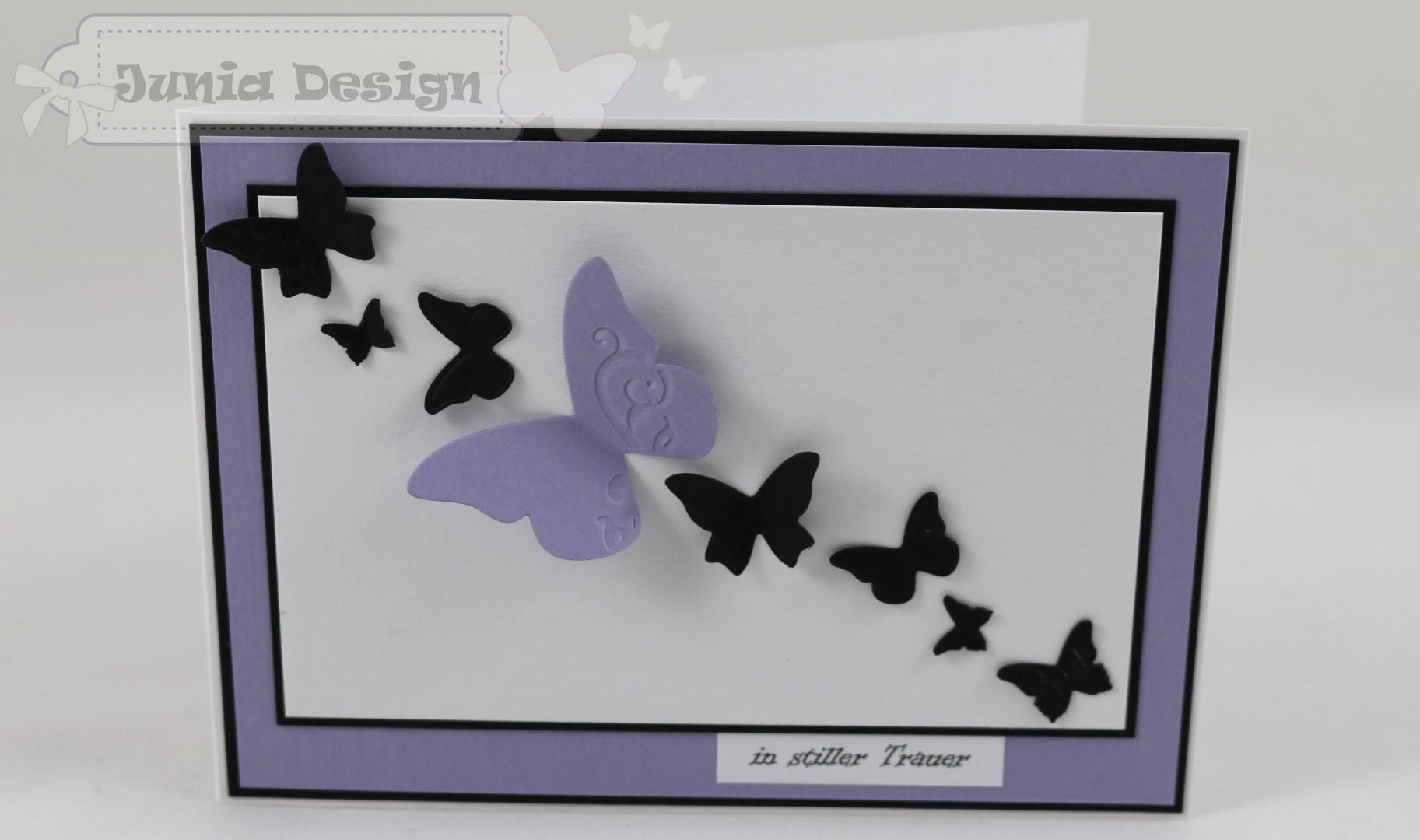 Trauer Karte Schmetterlinge lila a