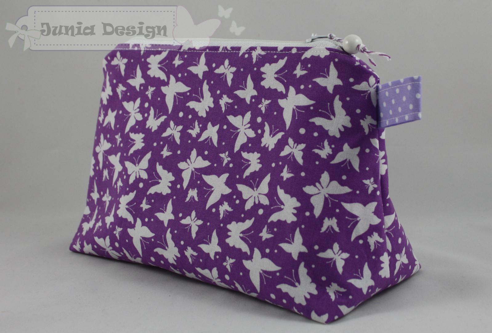große Kosmetiktasche lila Schmetterlinge a