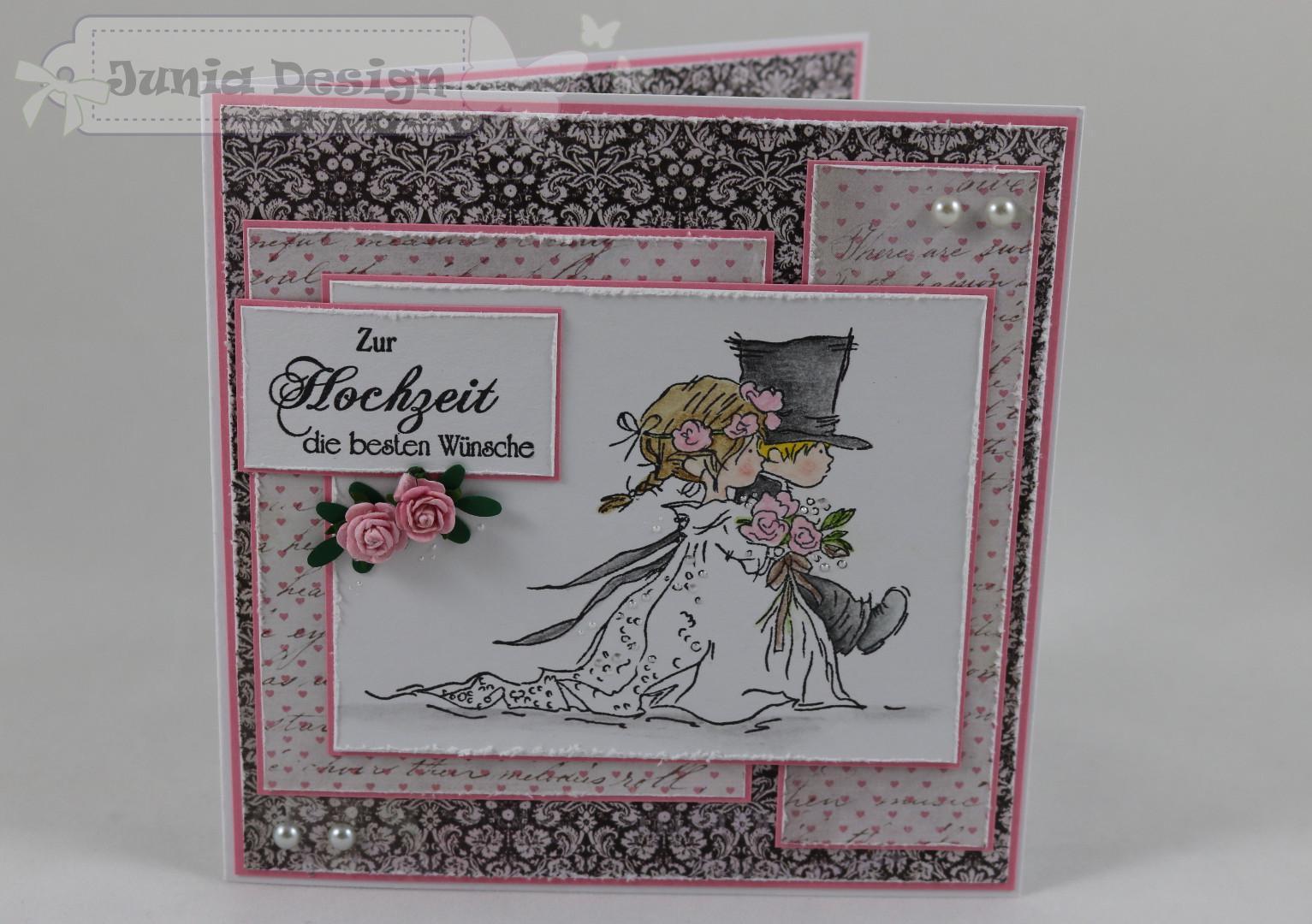 Hochzeitskarte rosa a