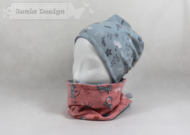 Junia Design » Beanie & Loop Set » Maus/Blumen Set