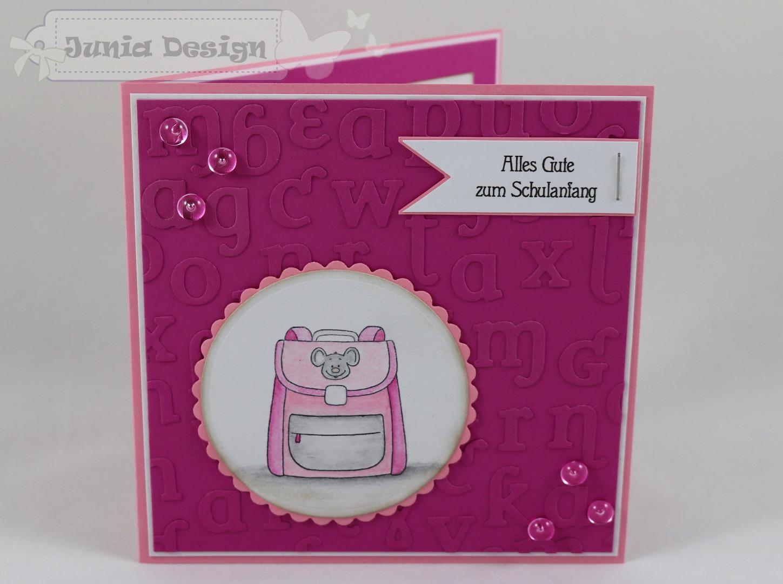 Einschulungskarte Schulranzen rosa a