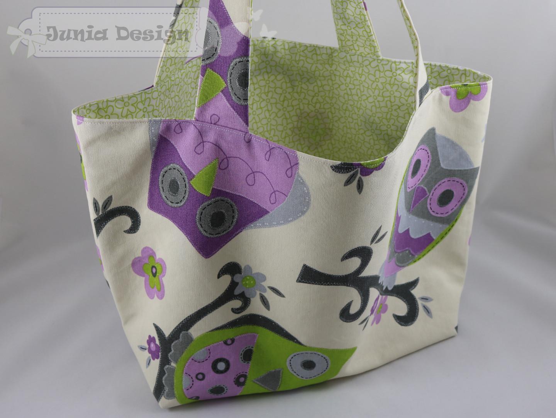 Einkaufstasche Eule grün/lila a