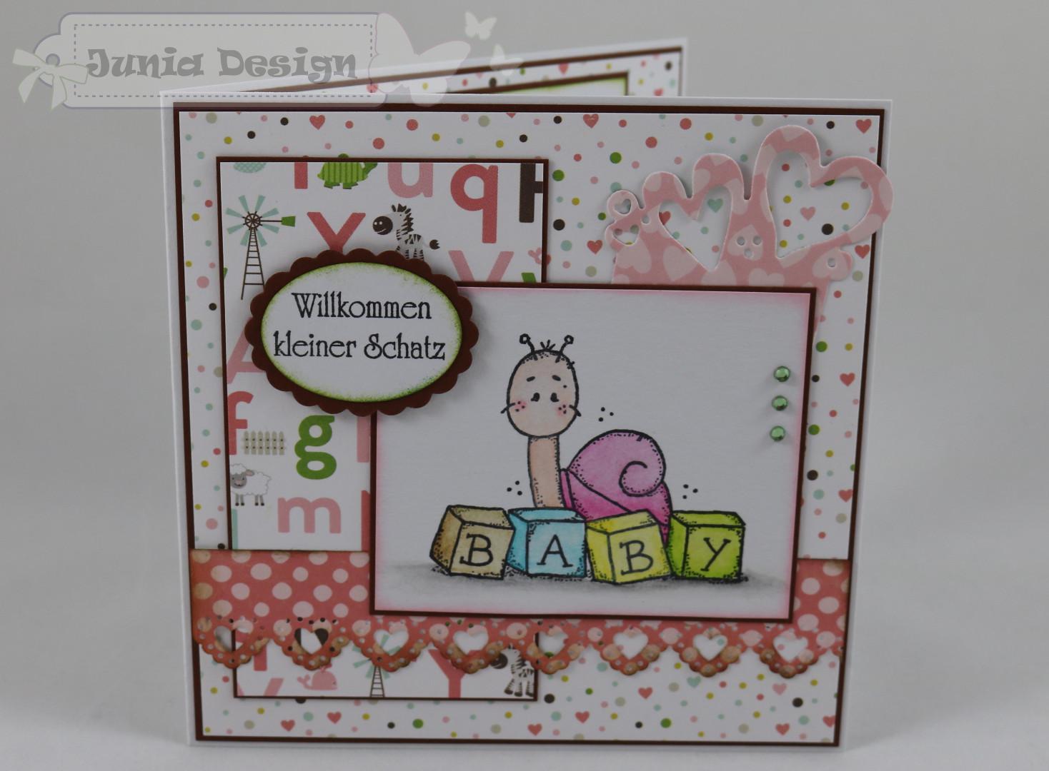 Babykarte Schnecke + Buchstaben a
