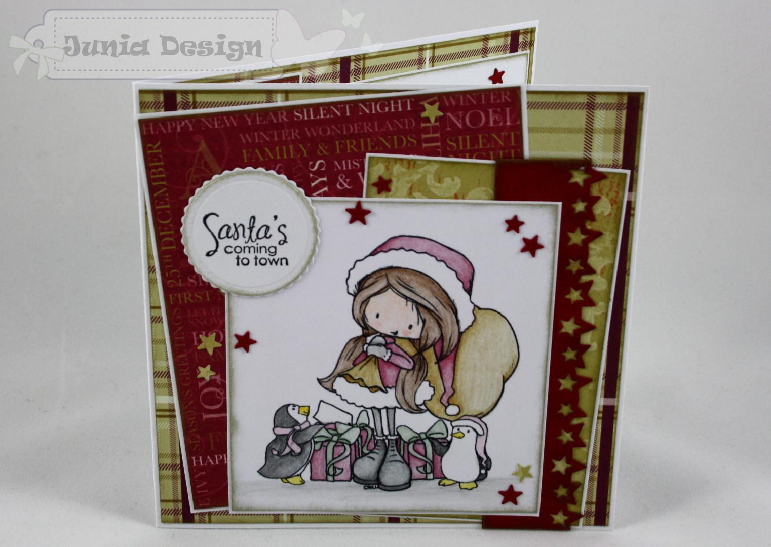 Weihnachtskarte Mädchen und Pinguine a