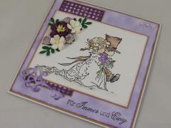 Hochzeitskarte lila/braun b