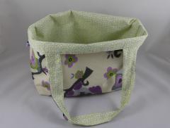 Einkaufstasche Eule grün/lila c