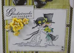 Hochzeitskarte gelb/grau 2