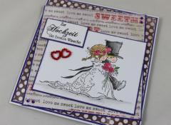 Hochzeitskarte lila/rot/grau c