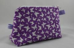 große Kosmetiktasche lila Schmetterlinge c