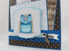 Einschulungskarte Schulranzen blau b