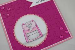 Einschulungskarte Schulranzen rosa b