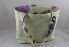 Einkaufstasche Eule grün/lila d