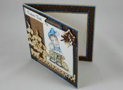 Weihnachtskarte braun/blau c