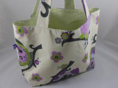 Einkaufstasche Eule grün/lila b