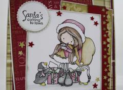 Weihnachtskarte Mädchen und Pinguine b