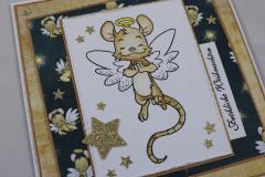 Weihnachtskarte Maus/gold b