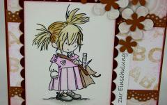 Einschulungskarte rosa/braun 2