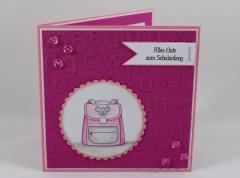 Artikelbild Einschulungskarte Schulranzen rosa