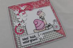 Genesungskarte rosa/grau b