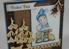 Weihnachtskarte braun/blau b