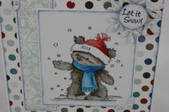 Weihnachtskarte Schnee Bär b